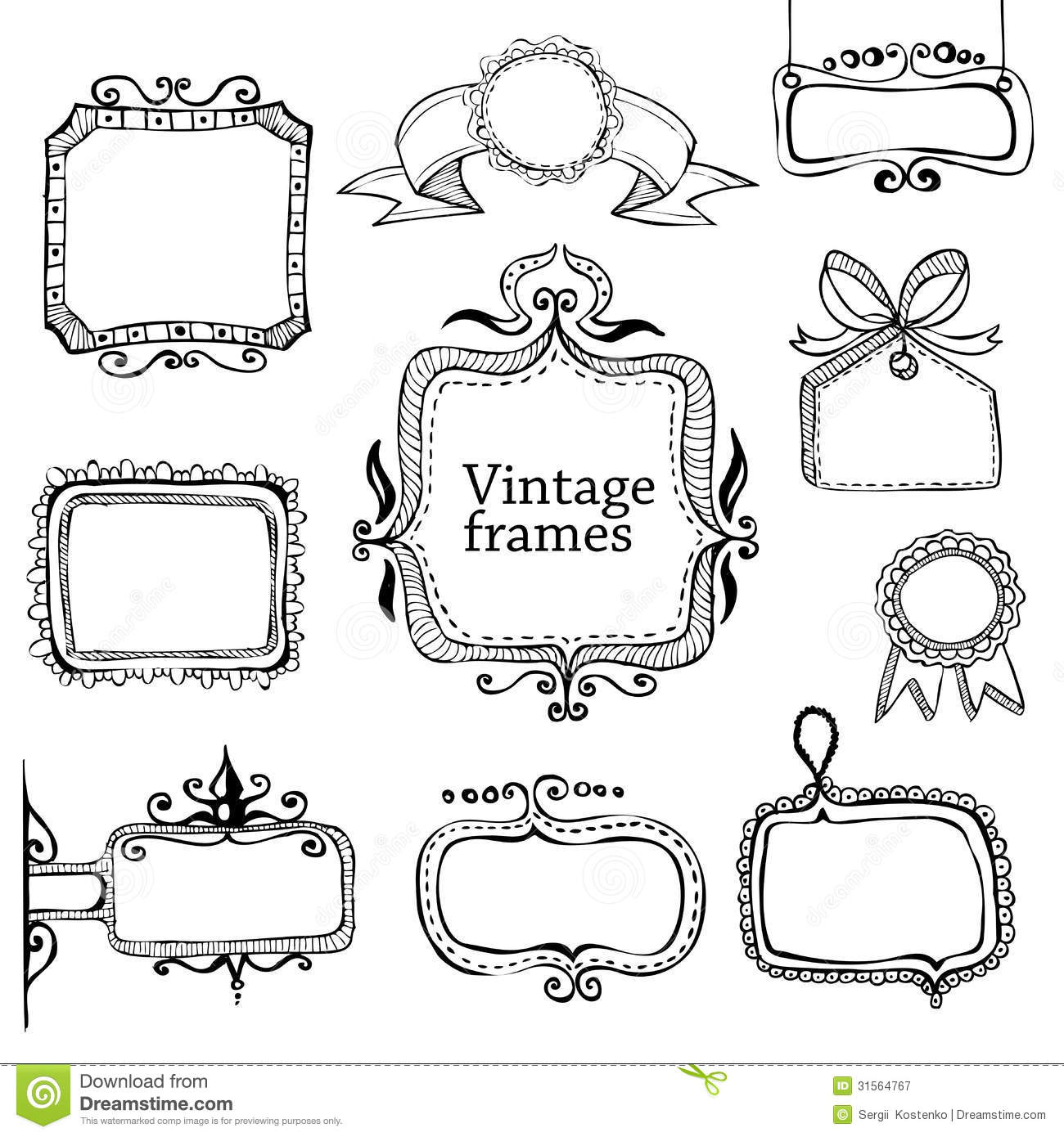 b0ad3150481 Vintage Hand Drawn Frames Collection Stock Vector - Illustration of ...