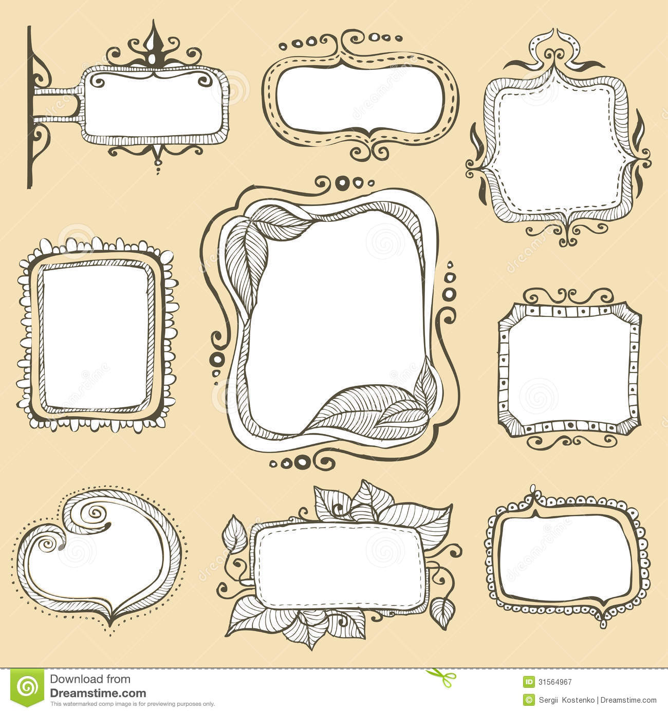Red flowers border vector stock image - Vintage Hand Drawn Frames Collection Royalty Free Stock