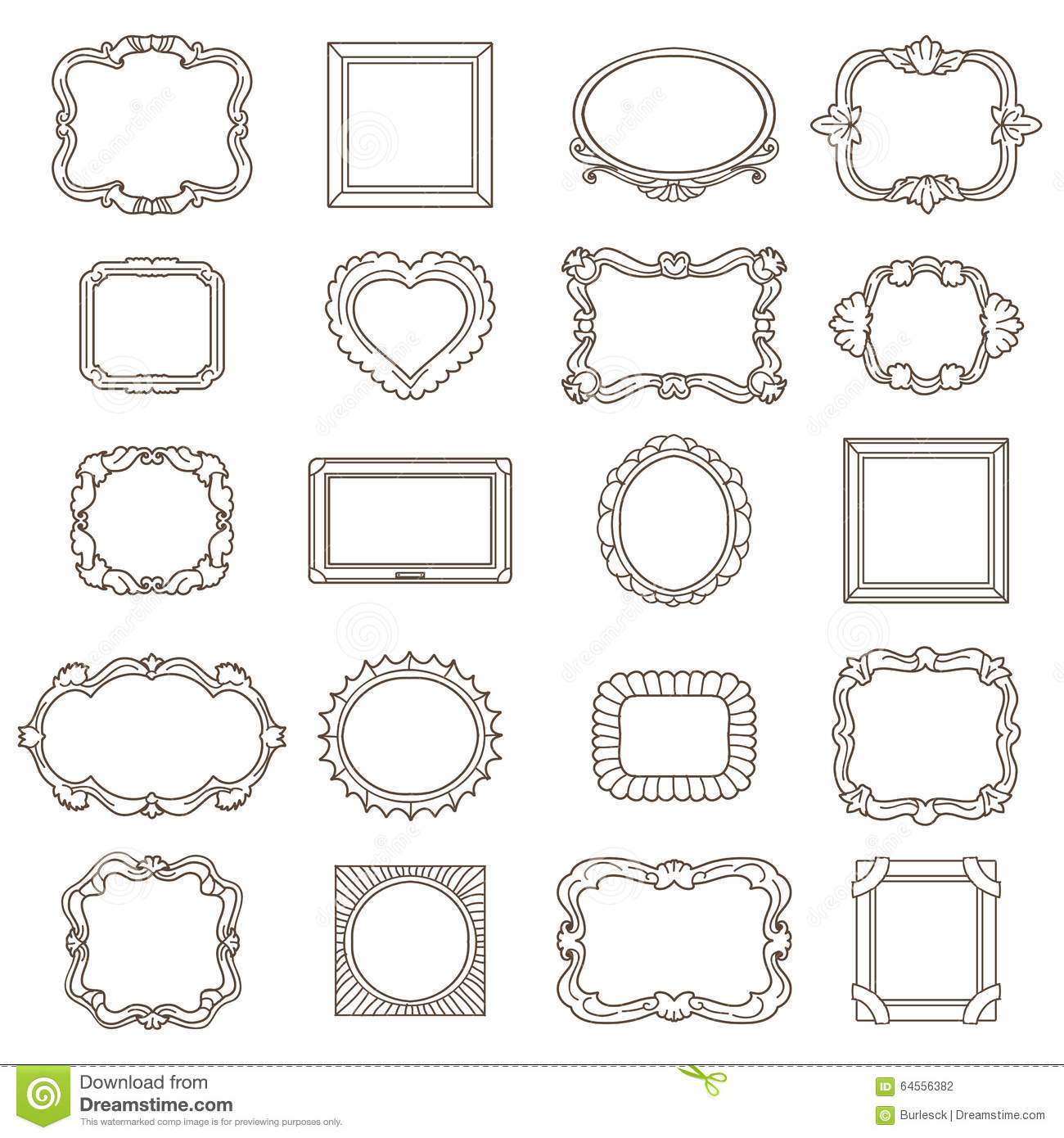 Vintage hand drawn frames for greetings and stock vector for Decoraciones para hojas