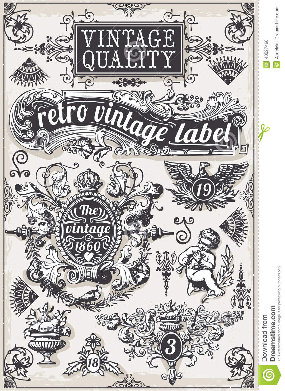 Vintage Hand Drawn Graphic Banners And Labels Stock Photo ...