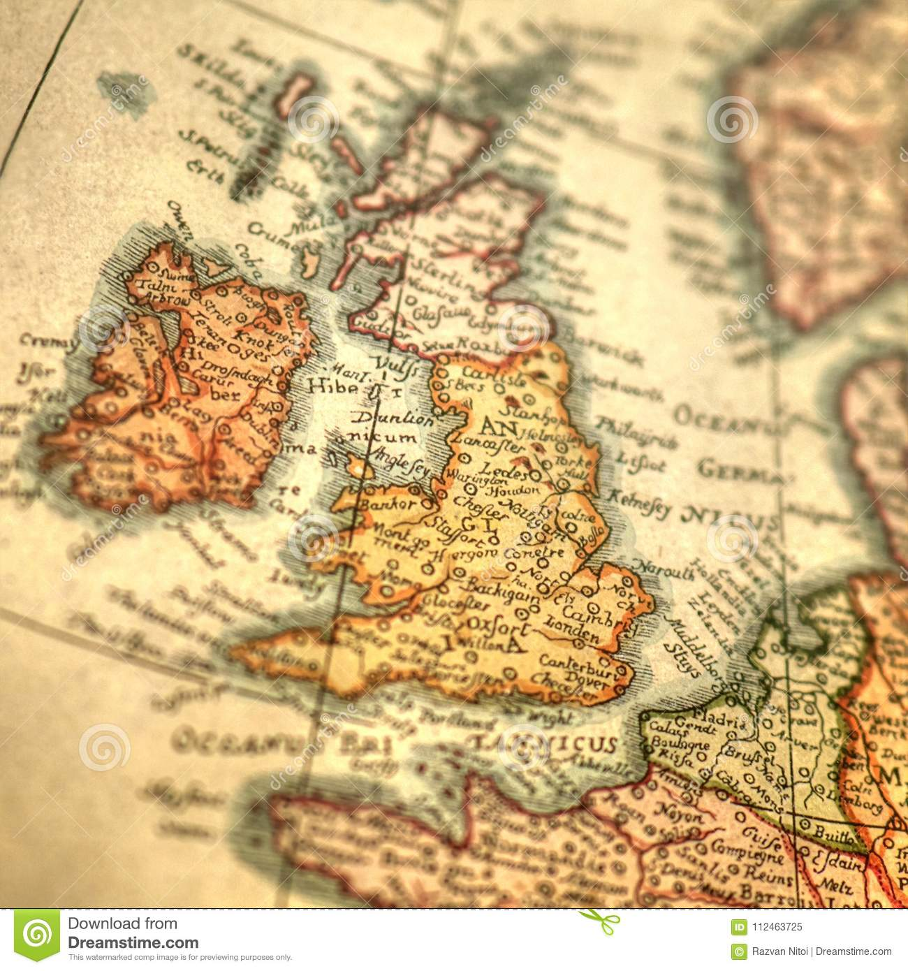 Vintage Hand Drawn Map Of Great Britain And Ireland Islands Stock ...