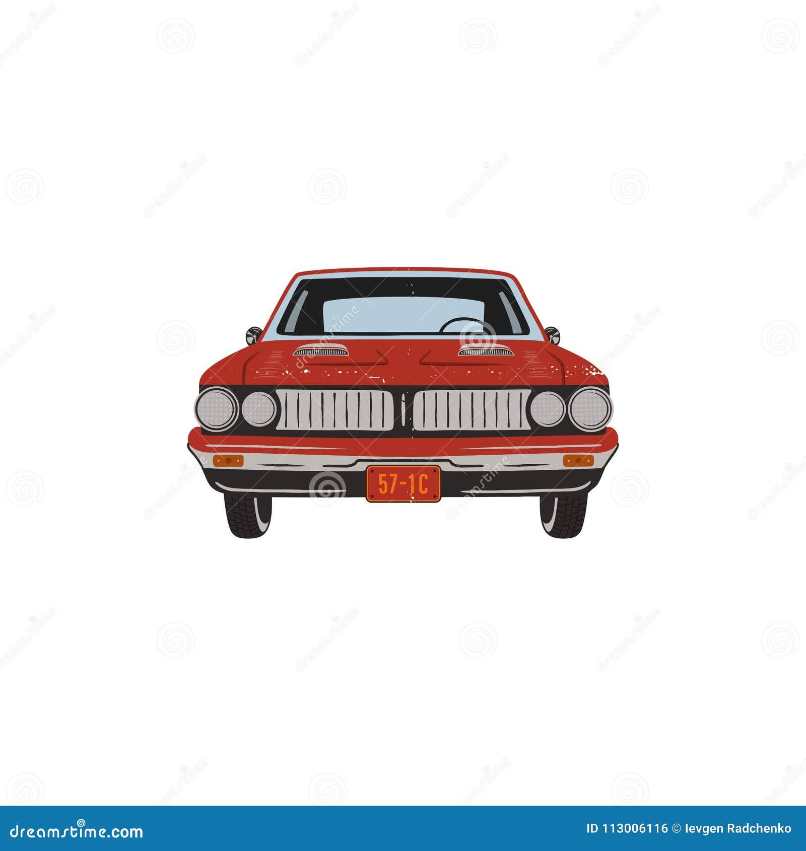 Vintage Hand Drawn Muscle Car Retro Red Car Symbol Design Classic