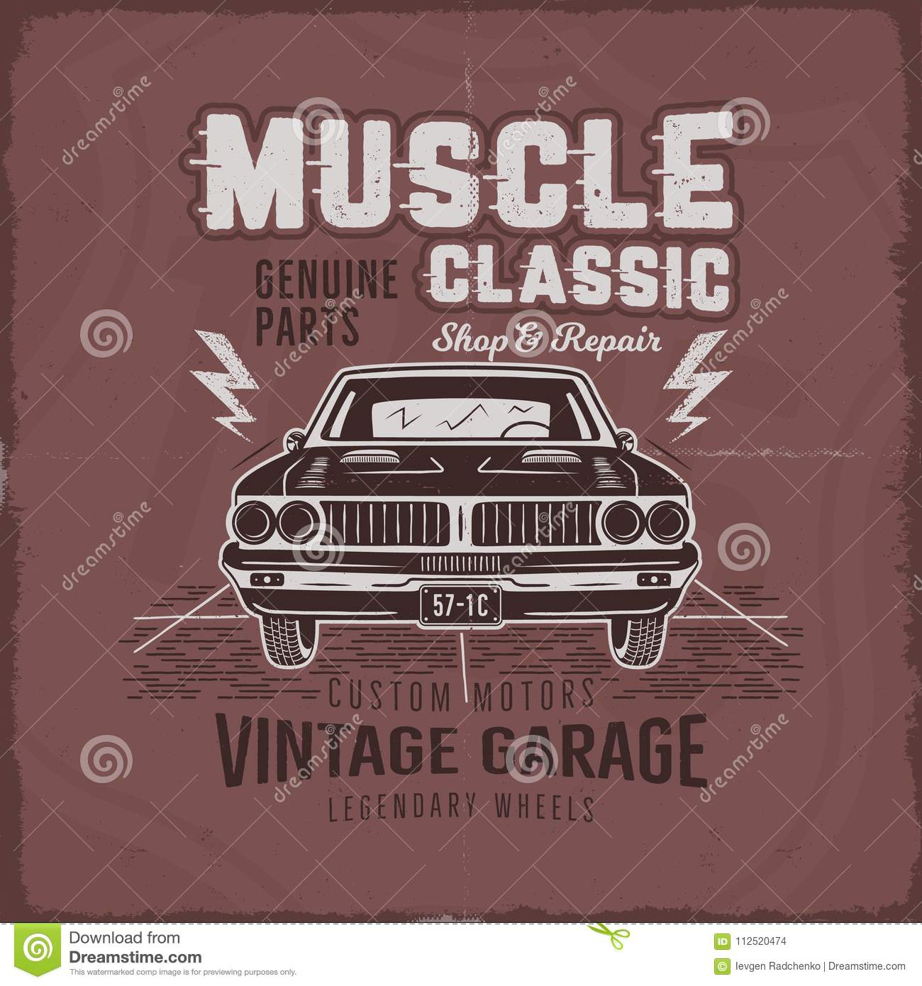 5881312bb Vintage hand drawn muscle car t shirt design. Classic car poster with  typography. Retro