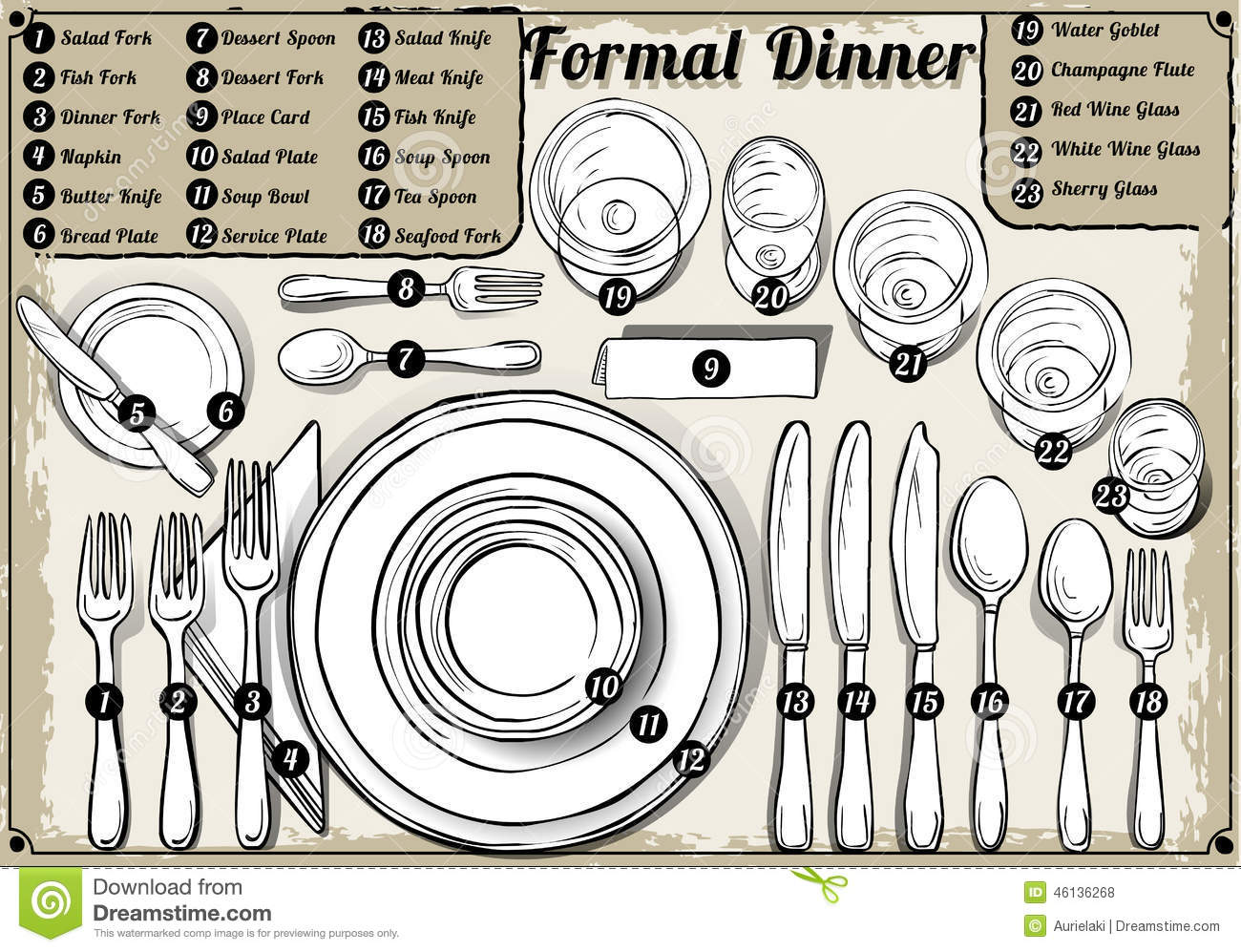 Vintage Hand Drawn Place Setting Formal Dinner Stock  : vintage hand drawn place setting formal dinner detailed illustration illustration saved eps color space 46136268 from www.dreamstime.com size 1300 x 997 jpeg 231kB