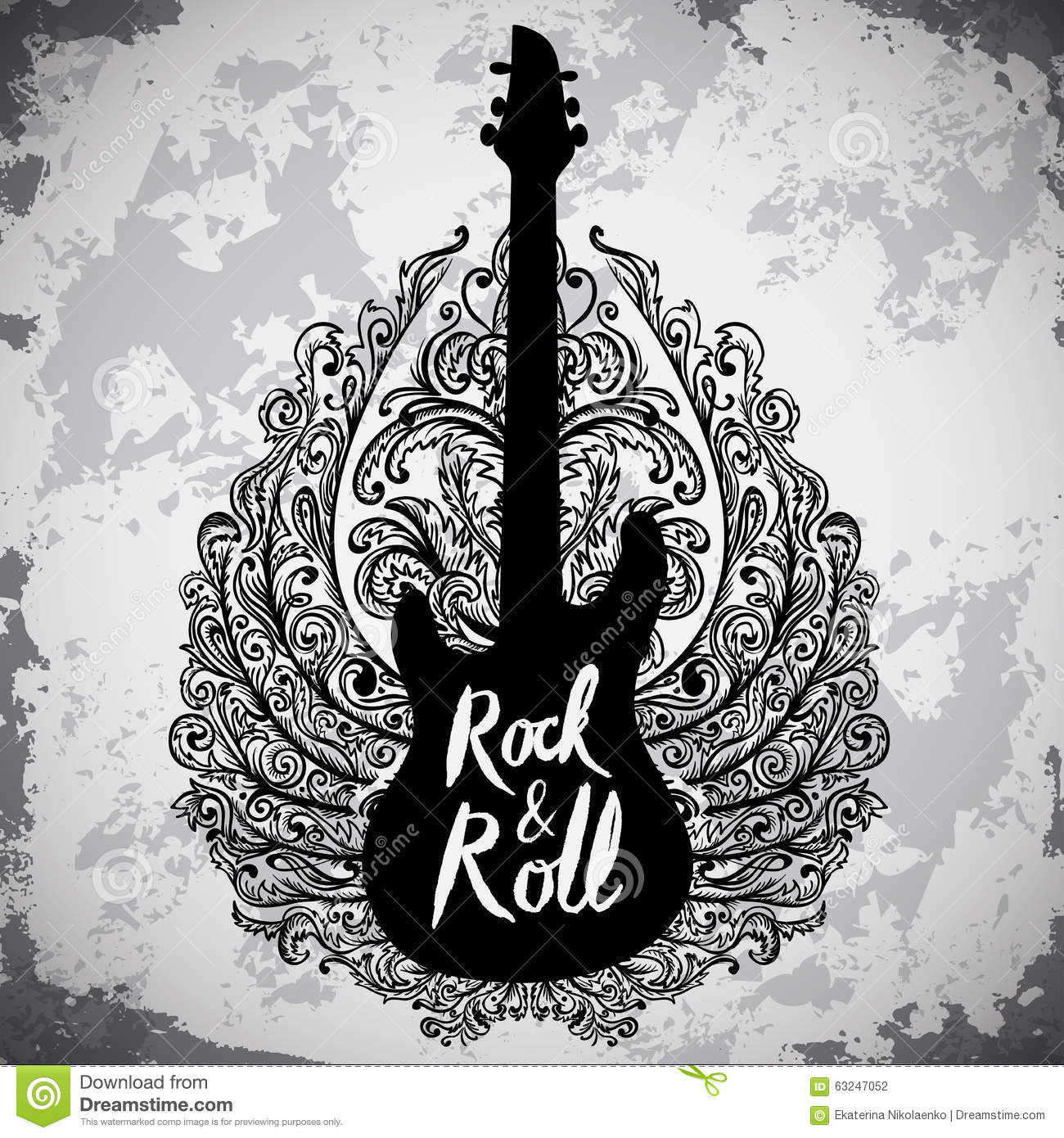 vintage hand drawn poster with electric guitar  ornate rock and roll clip art of 60, 70, rock and roll clip art 1980s