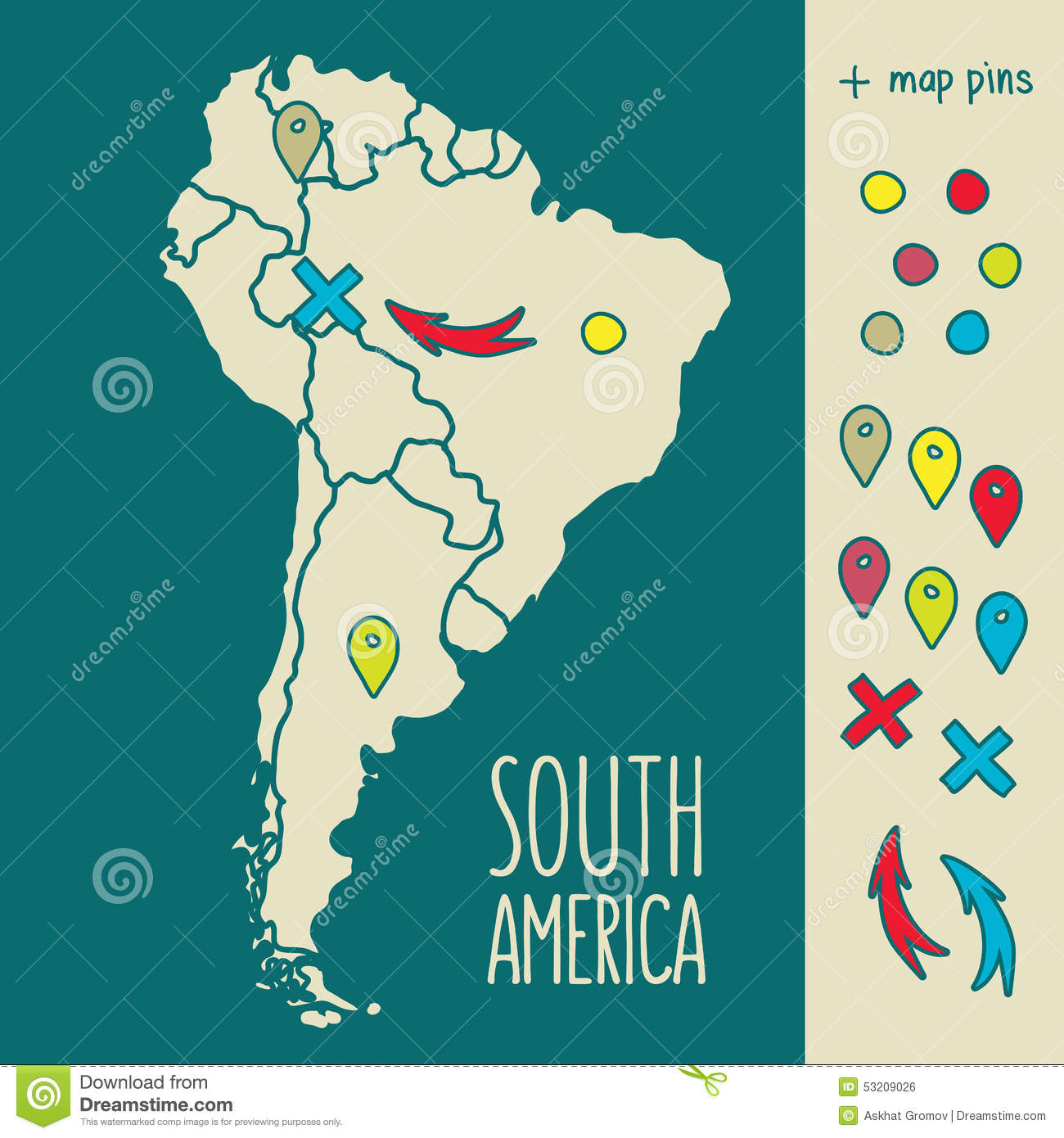Vintage Hand Drawn South America Travel Map With Vector – South America Travel Map