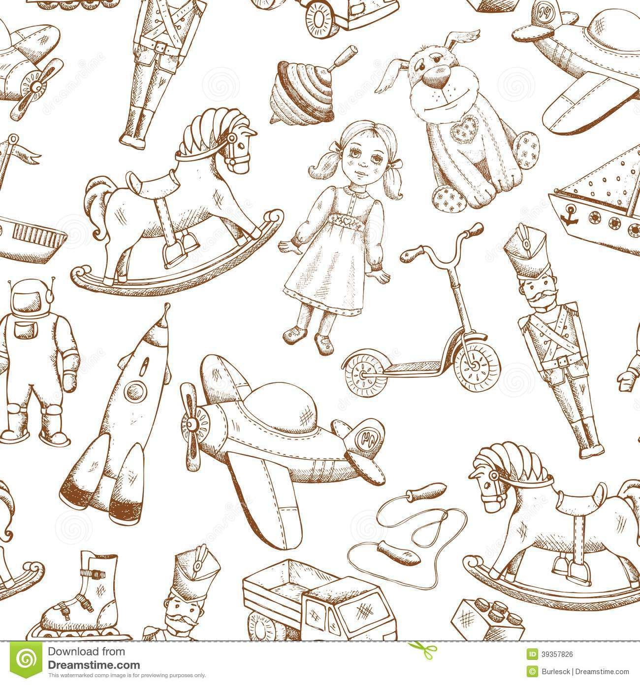 Vintage Hand Drawn Toys Pattern Stock Vector