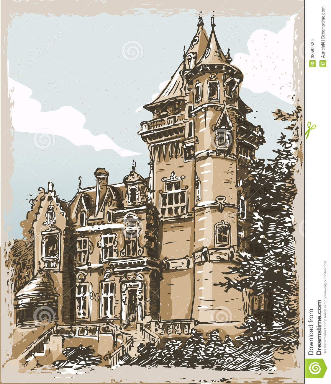 Vintage Hand Drawn View Of Old Castle In Belgium Royalty