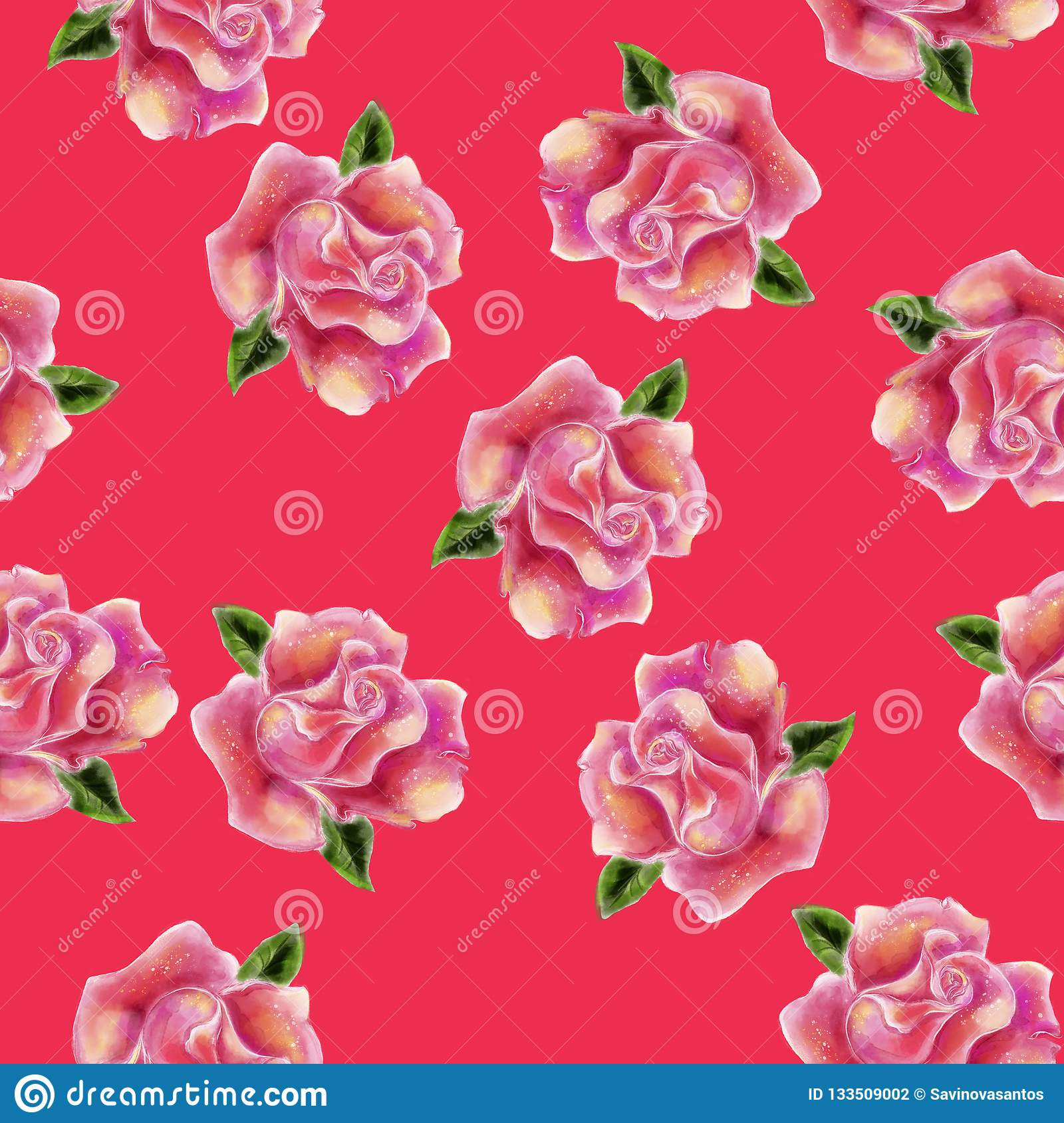 Vintage hand drawn watercolor rose flower seamless pattern