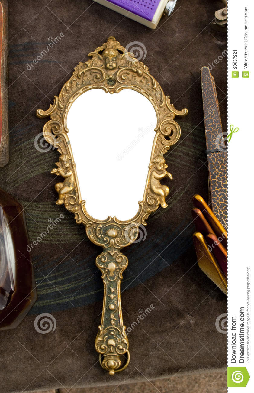 Vintage Hand Held Mirror Stock Image Image Of Closeup