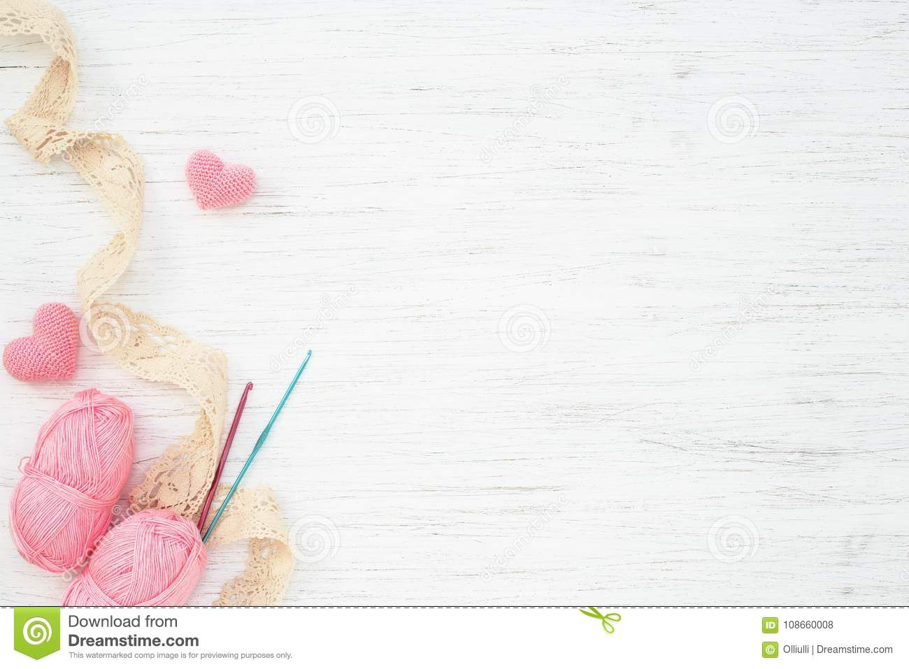 Vintage Handicraft Accessories Pink Hearts Stock Photo Image Of