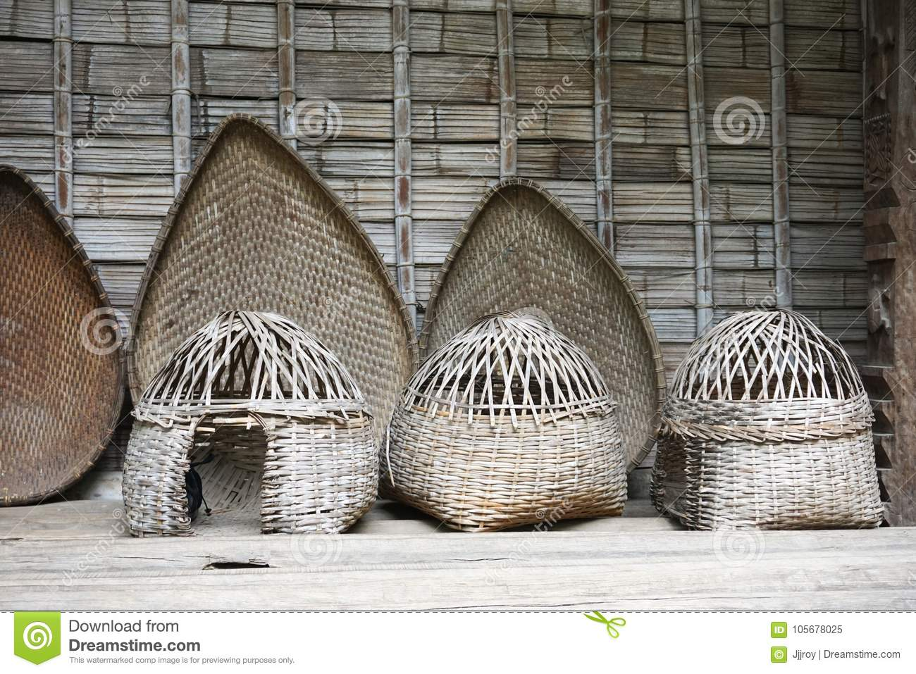 Vintage Handwoven Bamboo Baskets In Hanoi Vietnam Stock Image Image Of Containers Asia 105678025
