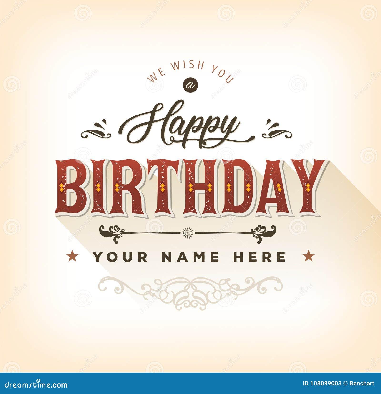 Vintage Happy Birthday Card Stock Vector Illustration Of Greetings