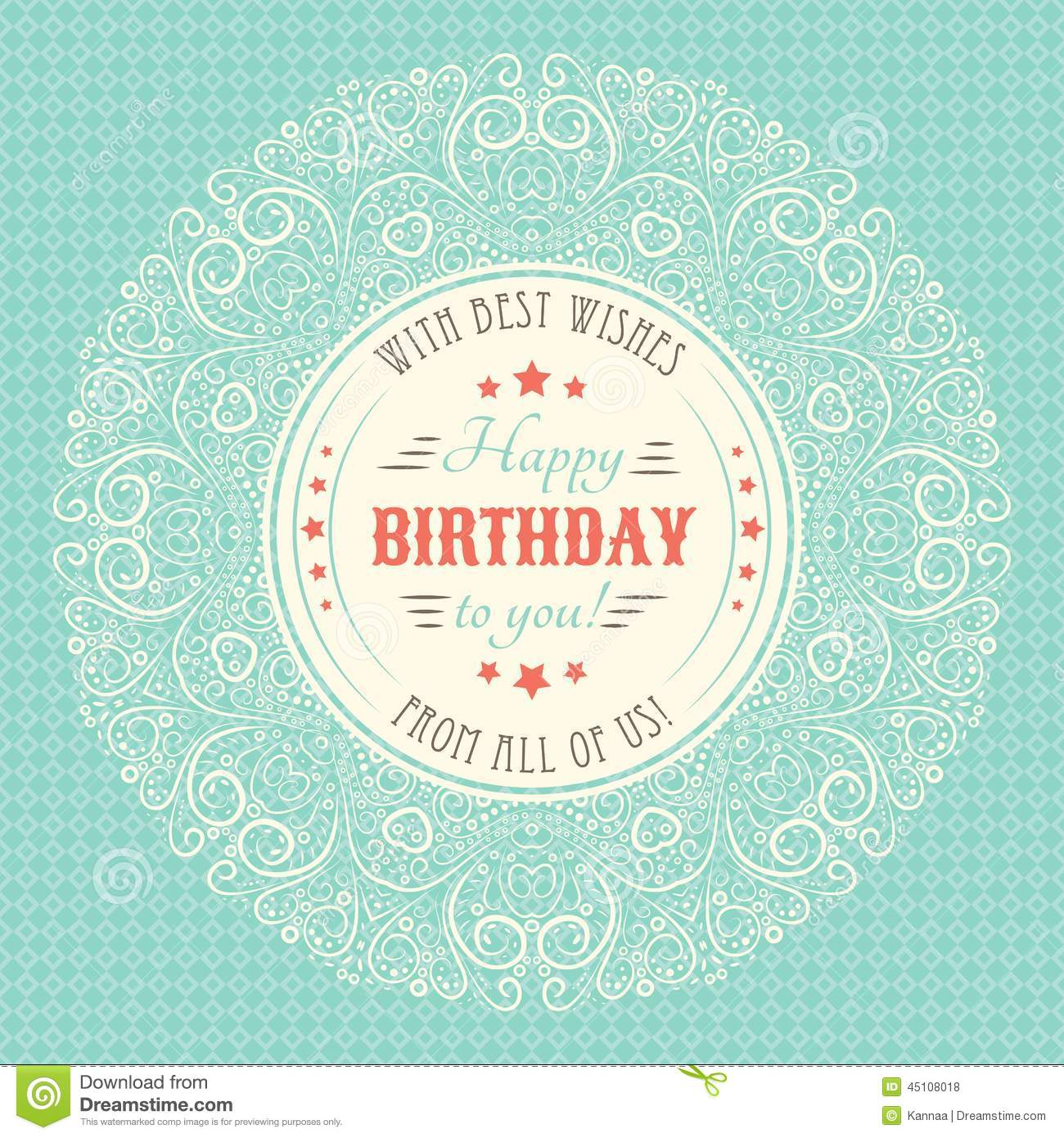 vintage happy birthday card. typography letters stock vector, Birthday card