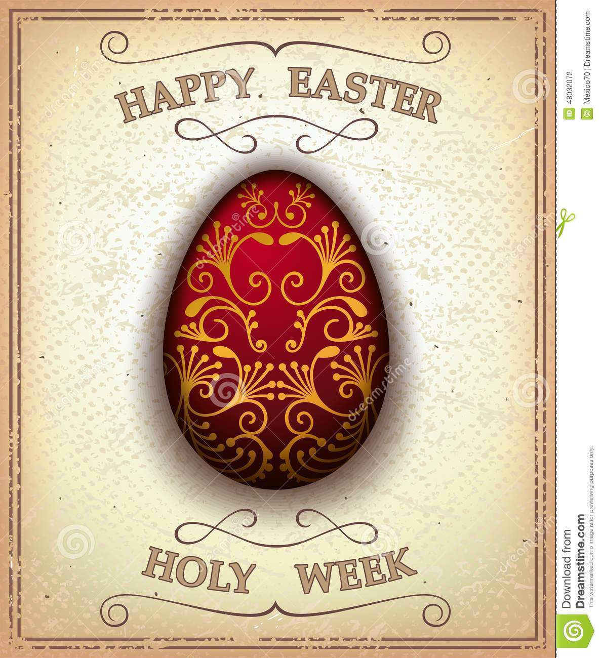 Easter Egg Decor Vintage Happy Easter And Holy Week Card Stock Vector