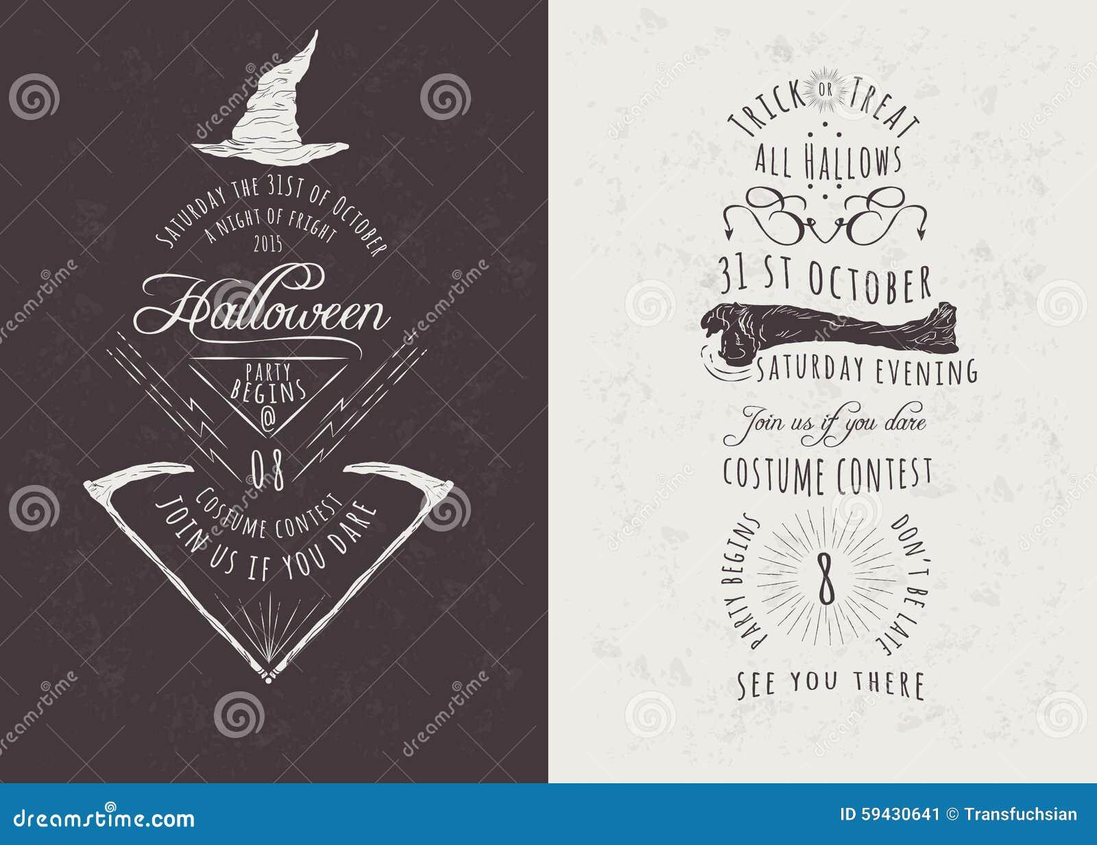 Vintage Happy Halloween Party Invitations Stock Vector ...