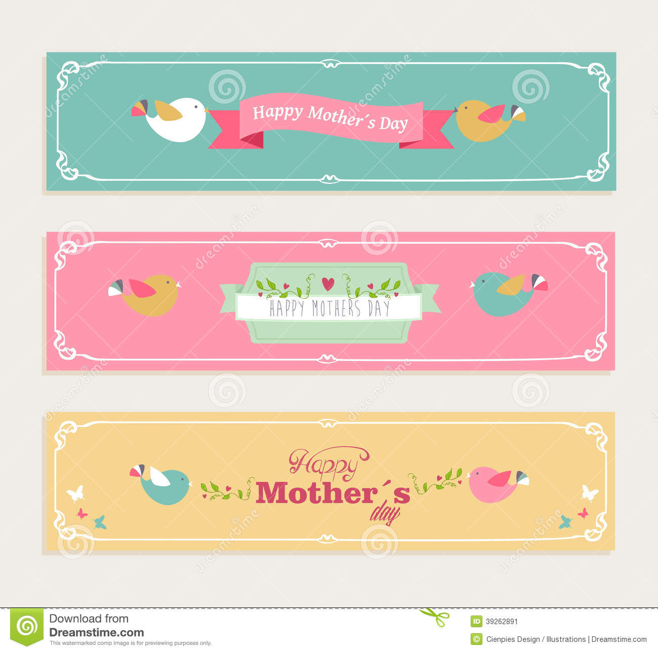 Vintage Happy Mothers Day Banners Set Stock Vector - Image ...