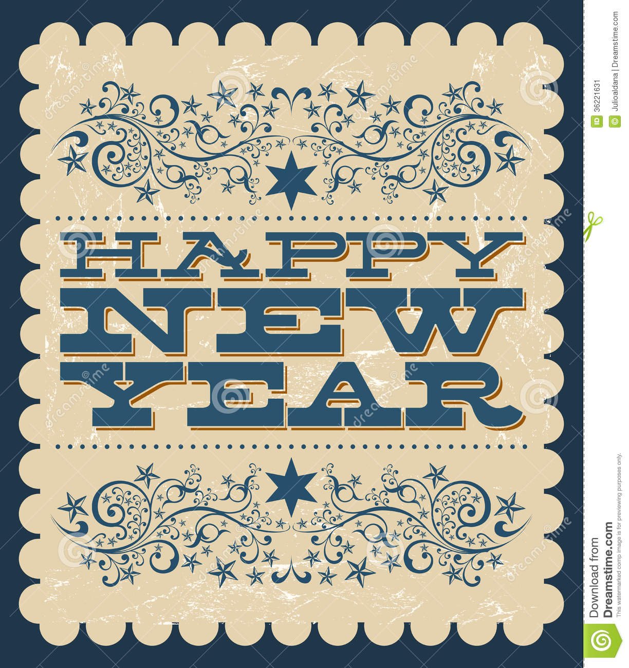 vintage happy new year card stock vector illustration of