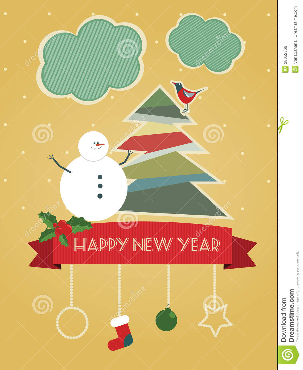 Vintage Happy New Year Postcard Royalty Free Stock Image - Image ...