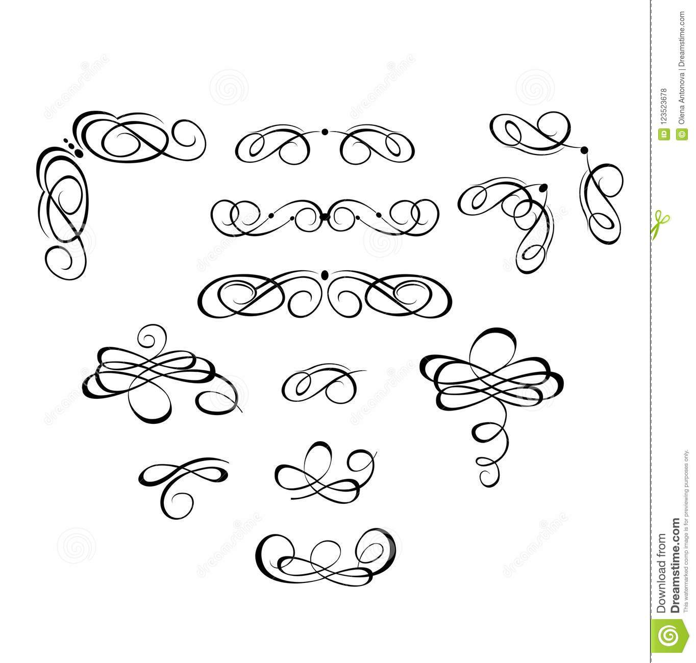 Vintage Headers And Swashes For Wedding Design Stock Vector