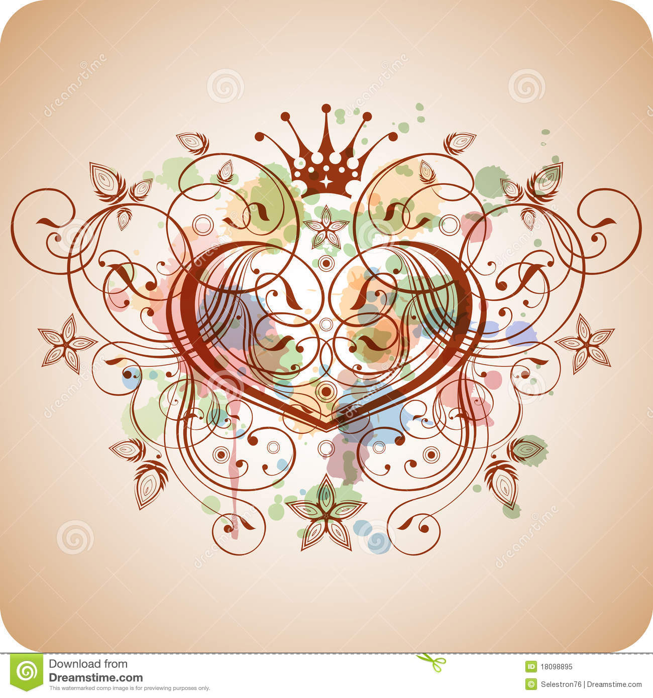 Vintage Heart & Floral Calligraphy Ornament Stock Vector - Image: 18098895