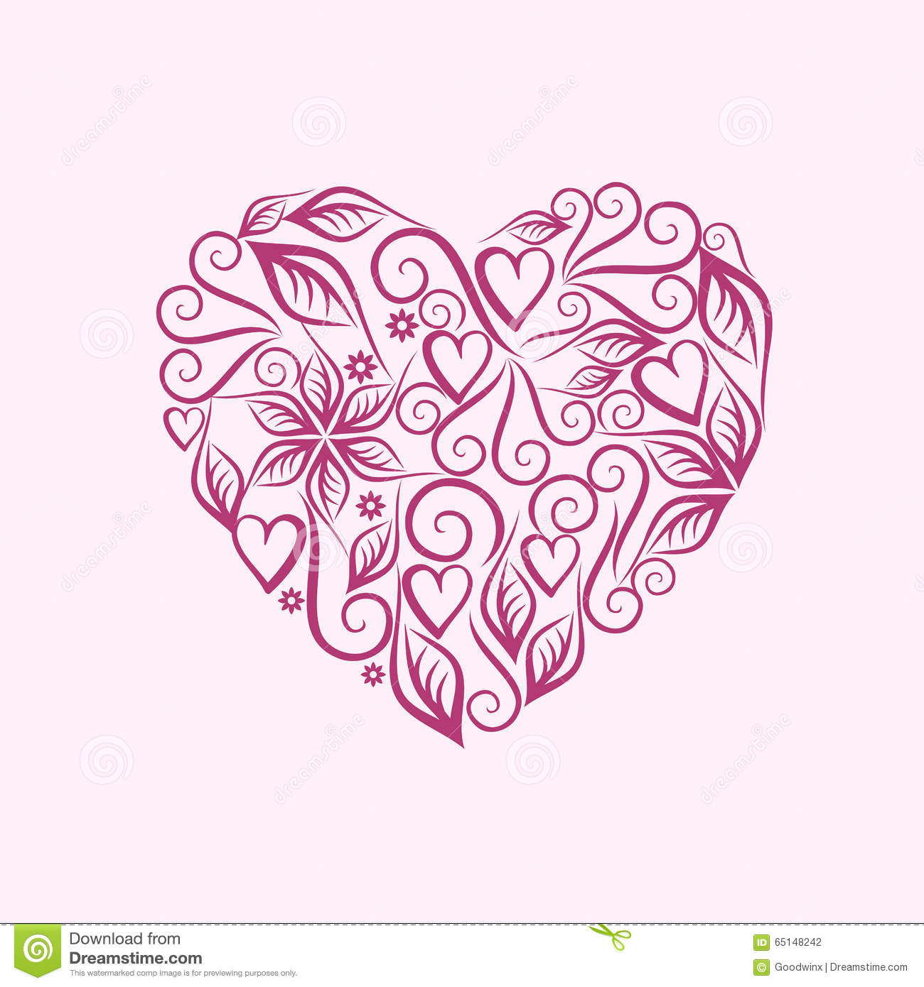 Vintage Heart Symbol Of Love Valentines Day Violet Stock Vector