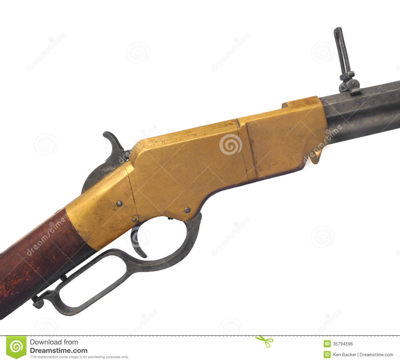 Vintage Henry Rifle Isolated  Stock Photo - Image of weapon