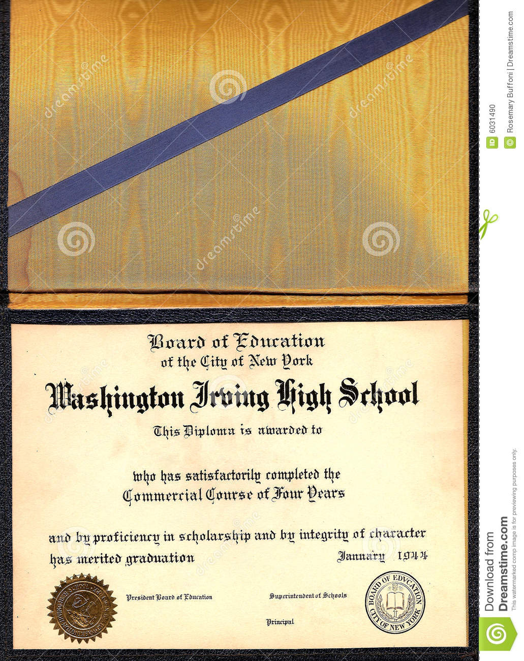 Vintage High School Diploma Stock Photo - Image: 6031490