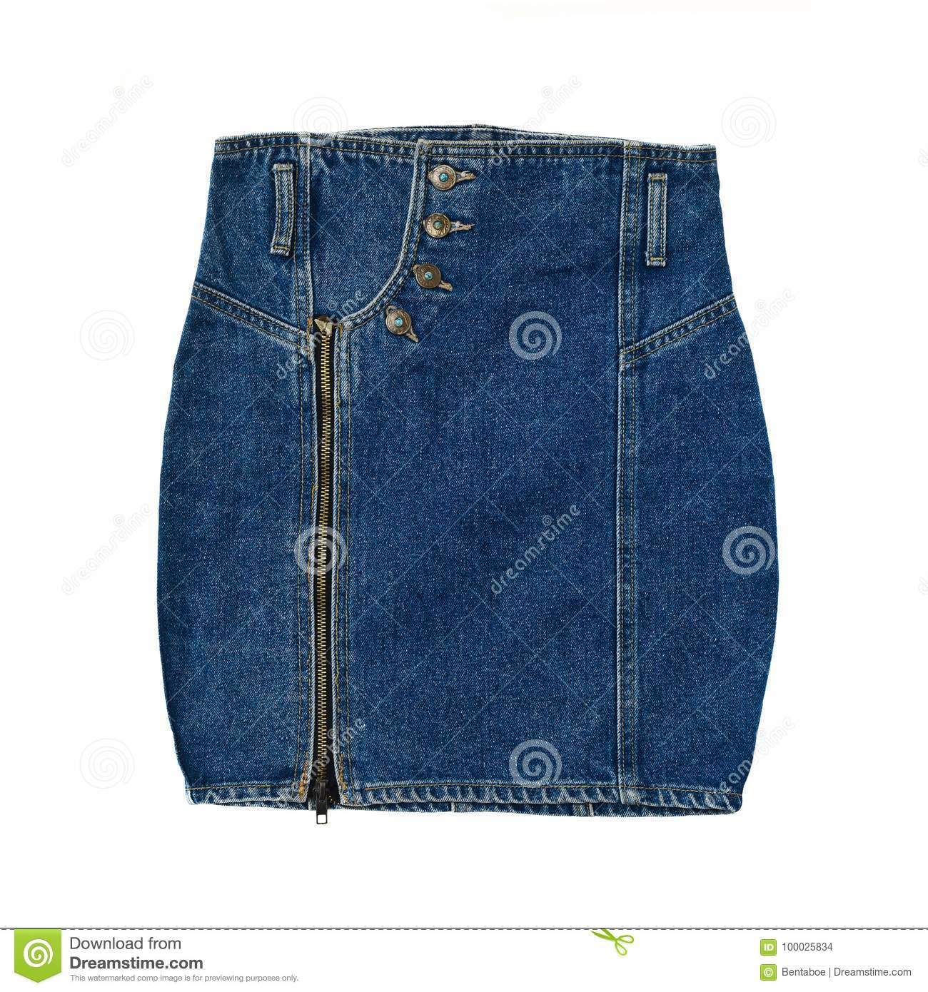Vintage High Waist Jeans Skirt Isolated On White Stock Photo