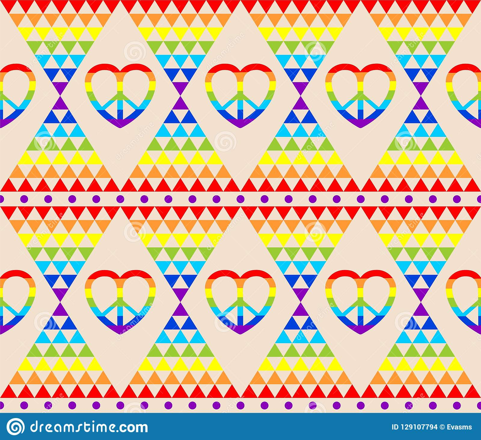 Vintage hippie wallpaper in rainbow colors, hippie symbol, psychedelic abstract triangle colorful pattern