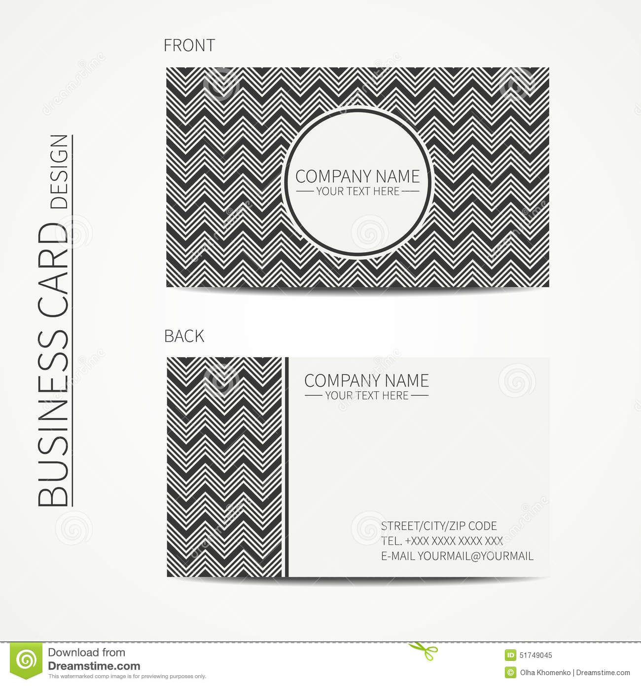 geometric monochrome business card template with vector illustration 57523420. Black Bedroom Furniture Sets. Home Design Ideas