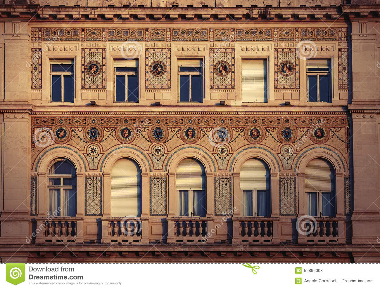 Vintage Historical Building Facade With Antique Decorations.