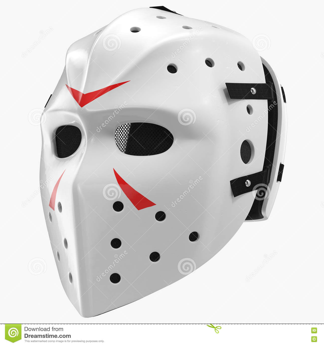 Vintage Hockey Mask On White. 3D Illustration Royalty-Free ...