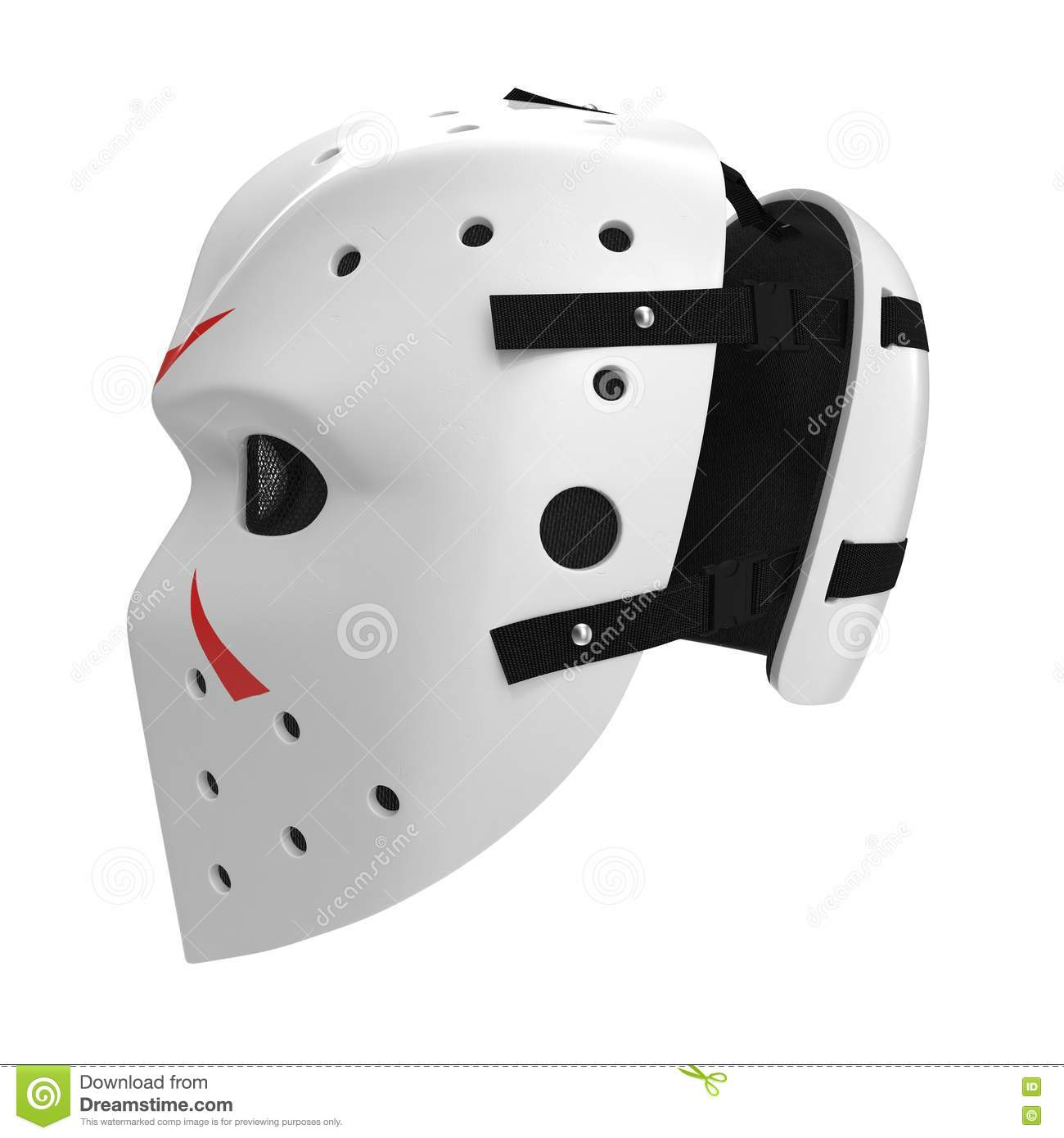 Vintage Hockey Mask On White. Side View. 3D Illustration ...