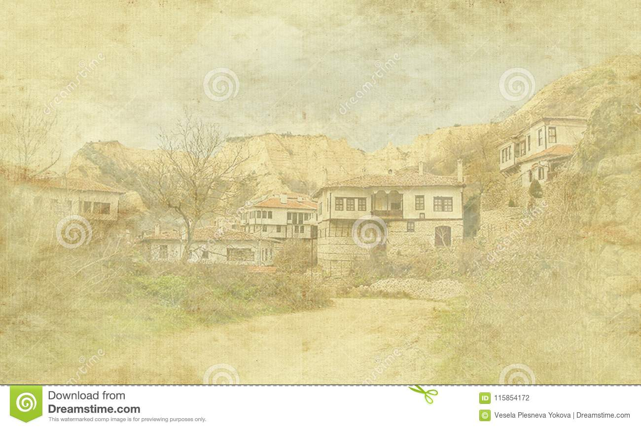 Vintage holiday card on old paper background. Street view of Melnik traditional architecture, Bulgaria. Residential, Europe