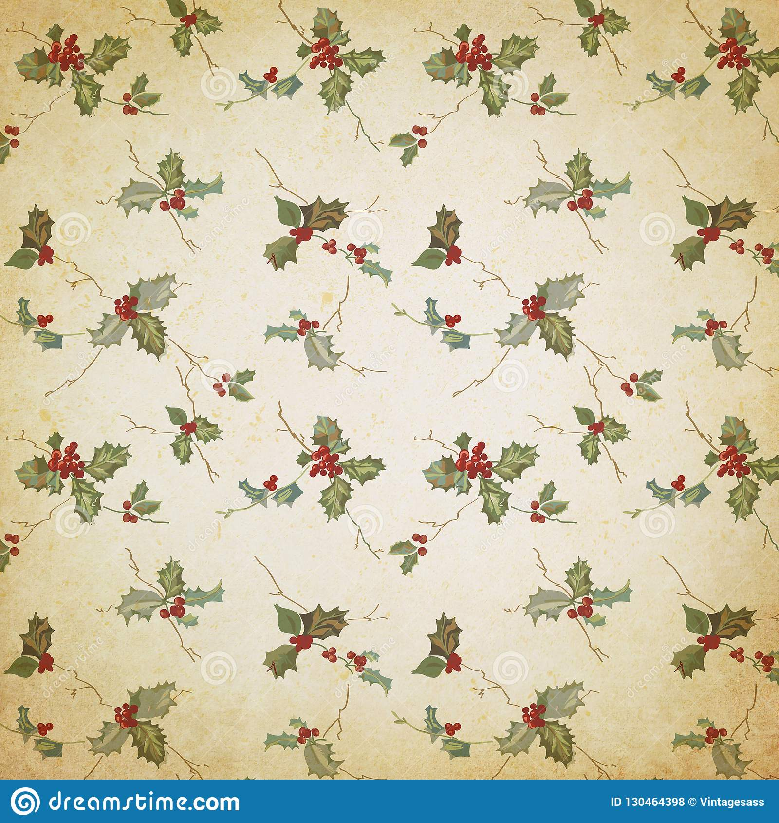 Christmas Scrapbook Paper.Vintage Holly Christmas Background Holly Pattern Digital
