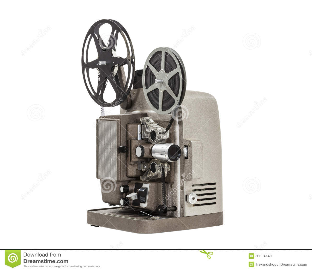 projector movie film reel isolated projection preview