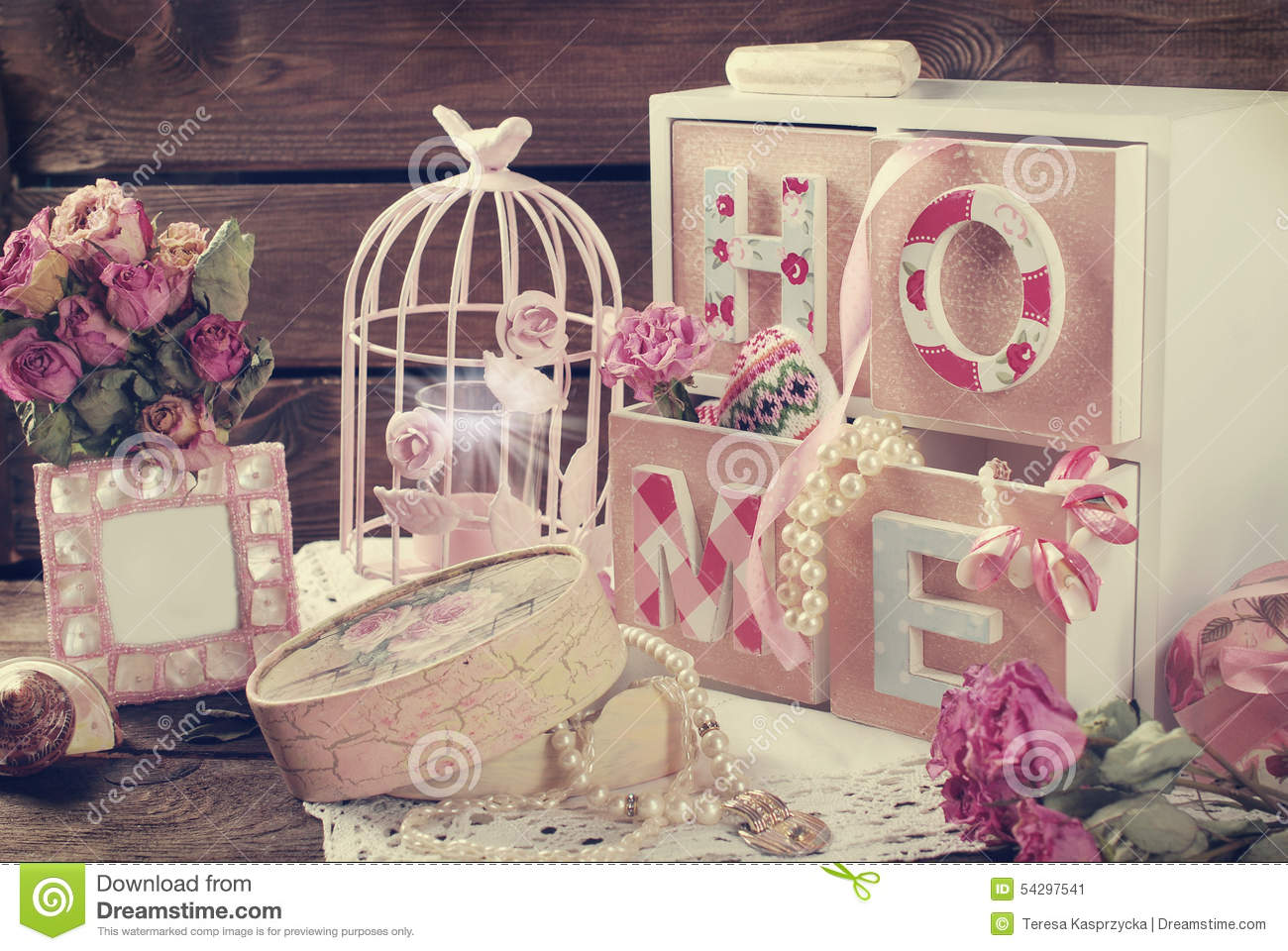 Vintage Home Still Life In Romantic Style Stock Photo
