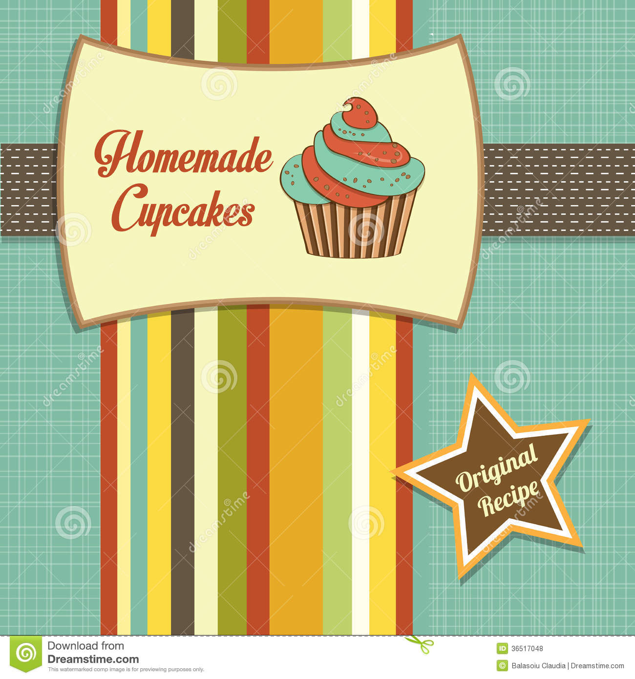Vintage Homemade Cupcakes Poster Stock Photo - Image: 36517050