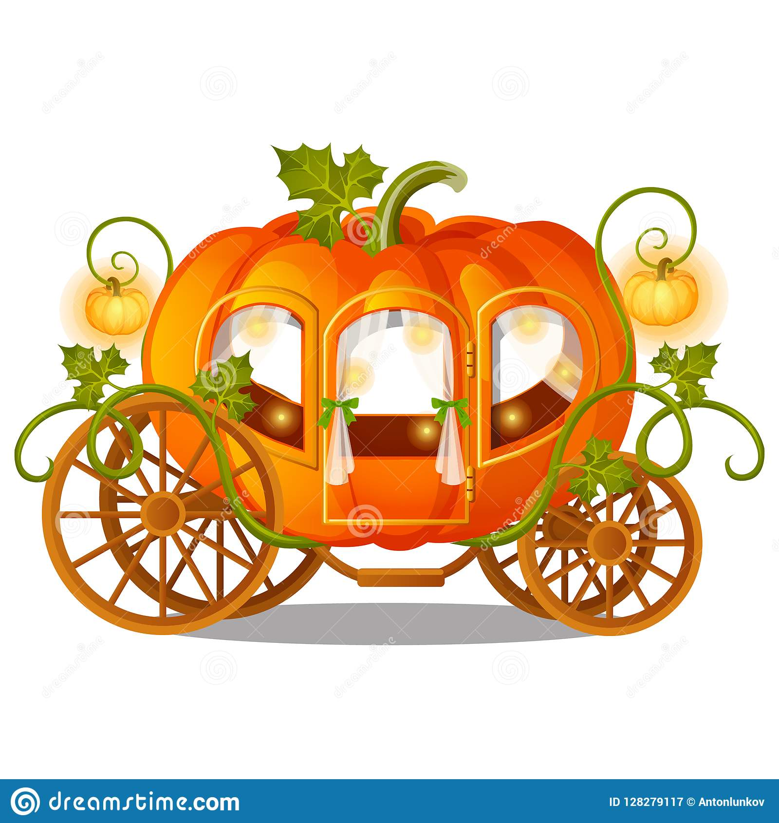 Vintage horse carriage of pumpkin with florid ornament isolated on white background. Sketch for a poster or card for the