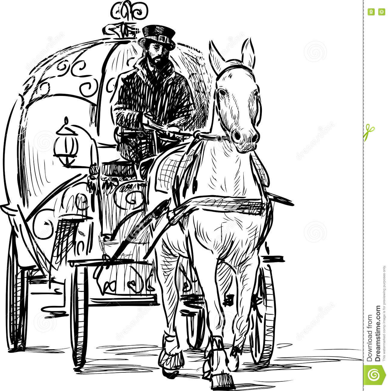 Vintage horse carriage stock vector. Illustration of ...
