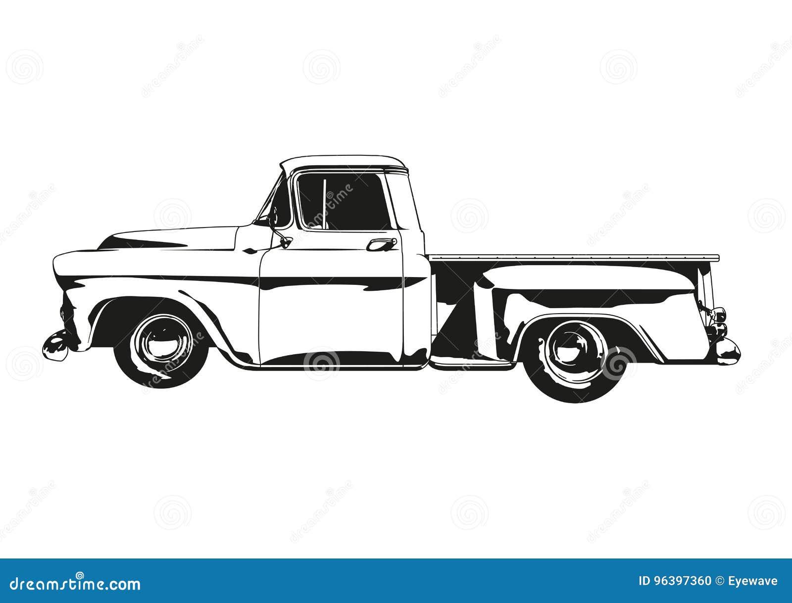 Vintage Hot Rod Pickup Truck Silhouette Vector Stock Vector Illustration Of Pickup Vector 96397360