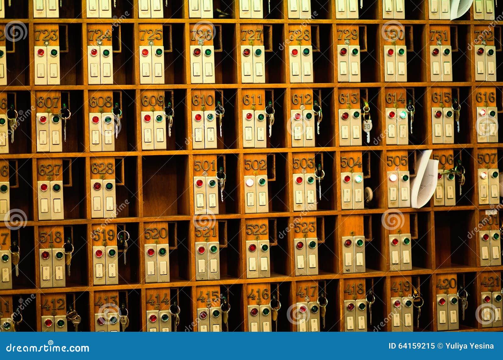Vintage hotel front desk key rack stock image image 64159215 - Vintage hotel key rack ...