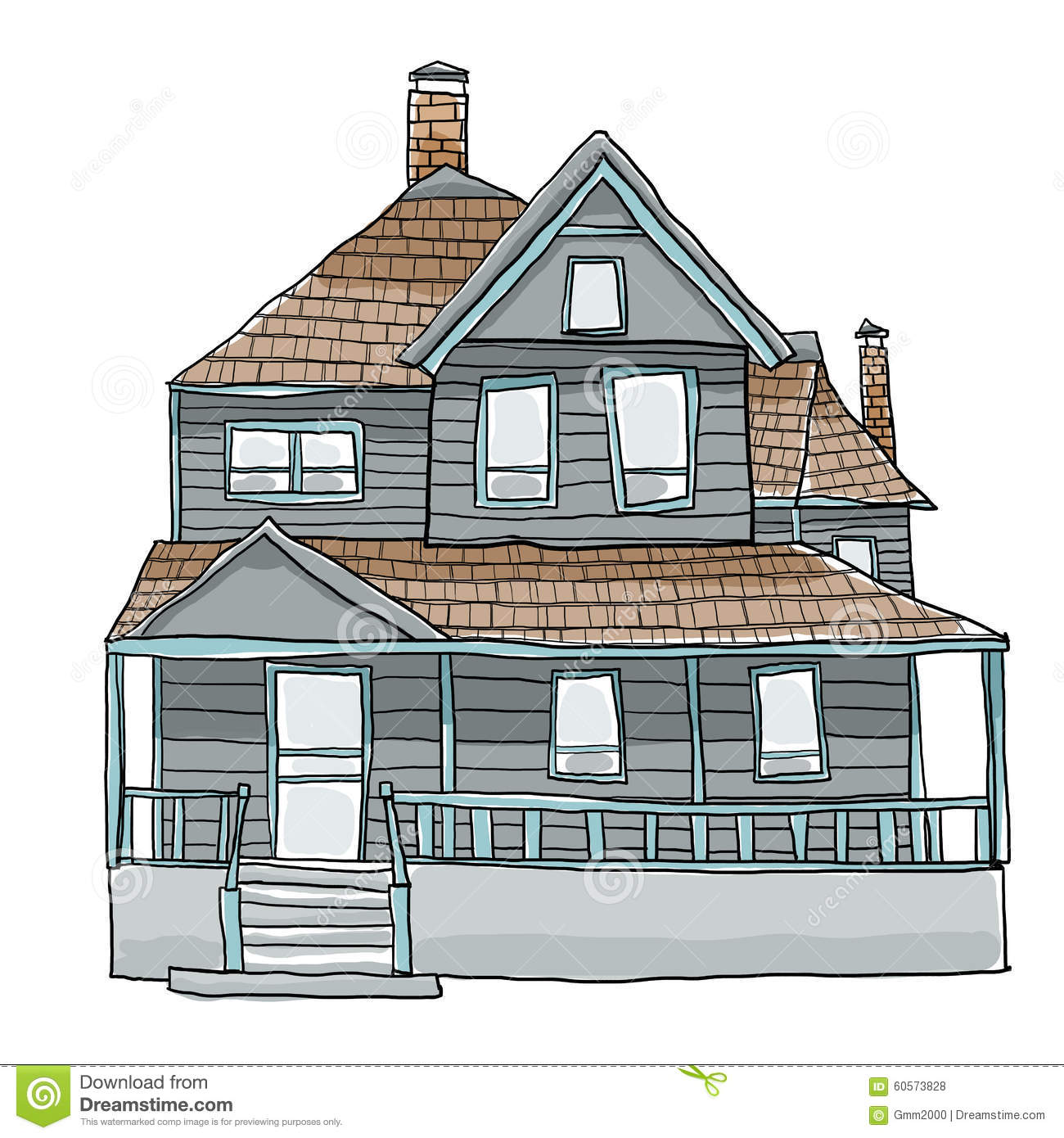 Vintage House Cute Art Cute Illustration Stock ...