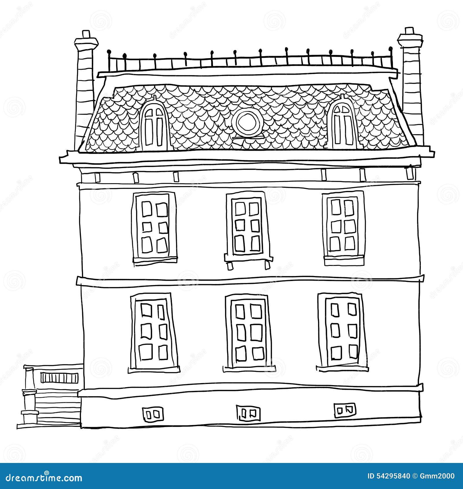 Line Art Of House : Vintage house line art stock illustration image