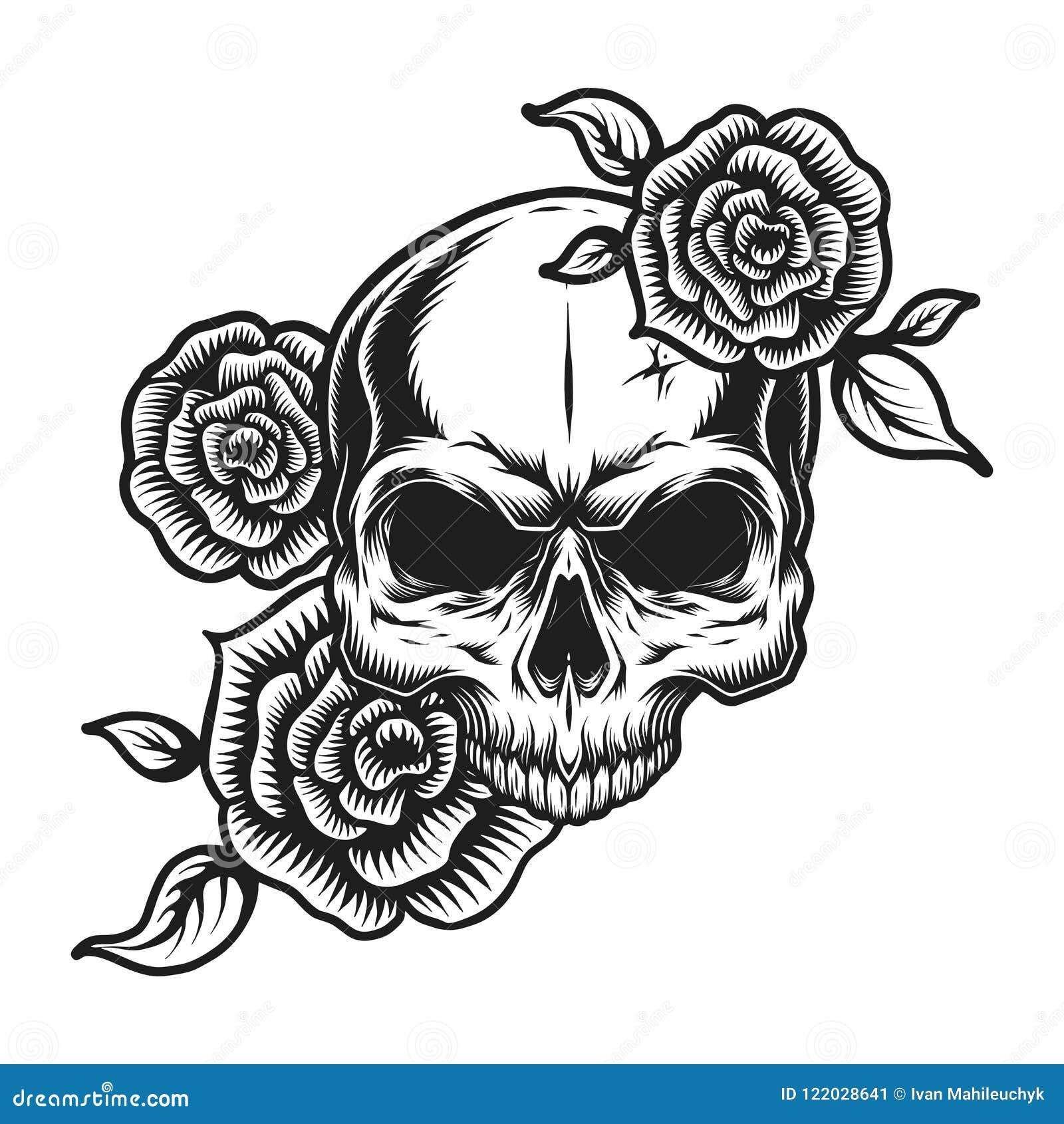 Human Jaw Tattoo: Vintage Human Skull Tattoo Concept Stock Vector