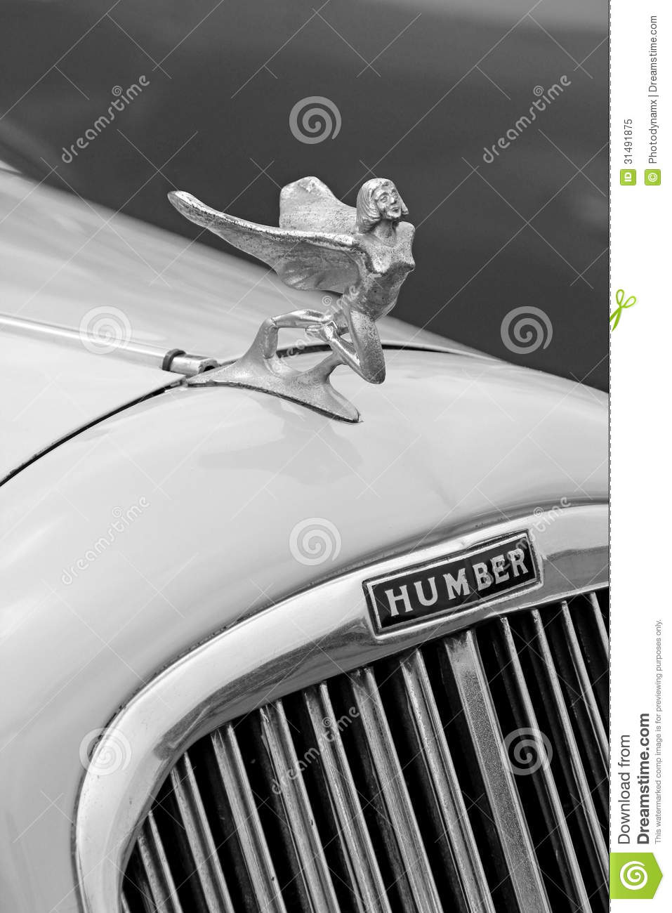 Vintage humber car flying lady mascot Editorial Image