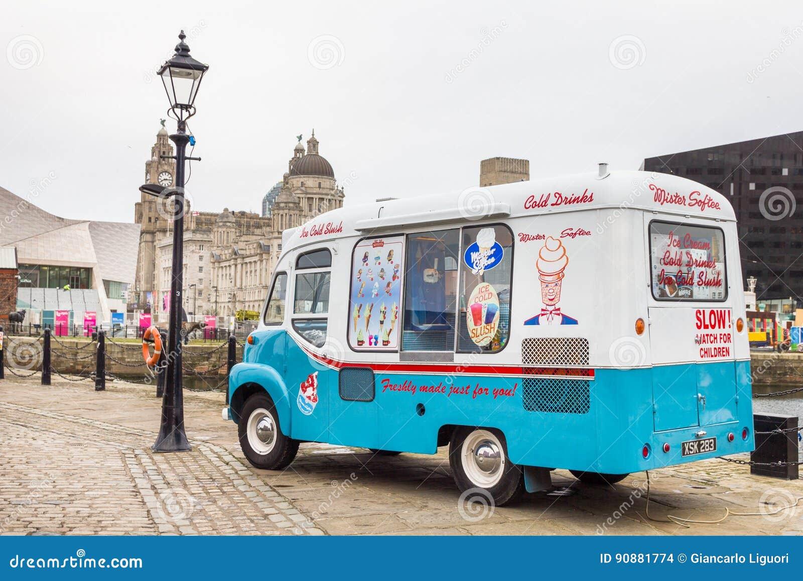 Vintage ice-cream van in Albert Docks, Liverpool, UK