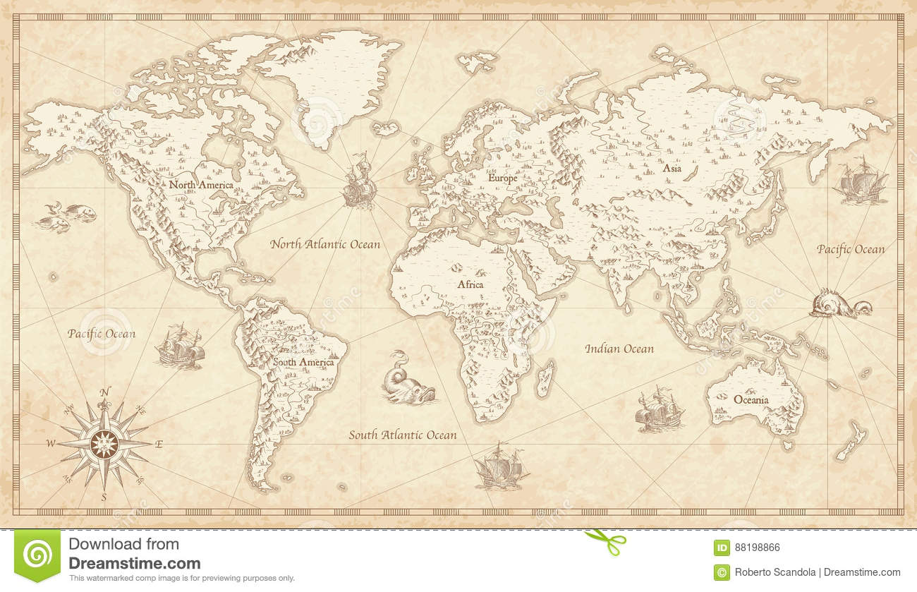 Vintage illustrated world map stock vector illustration 88198866 vintage illustrated world map royalty free vector download gumiabroncs Image collections