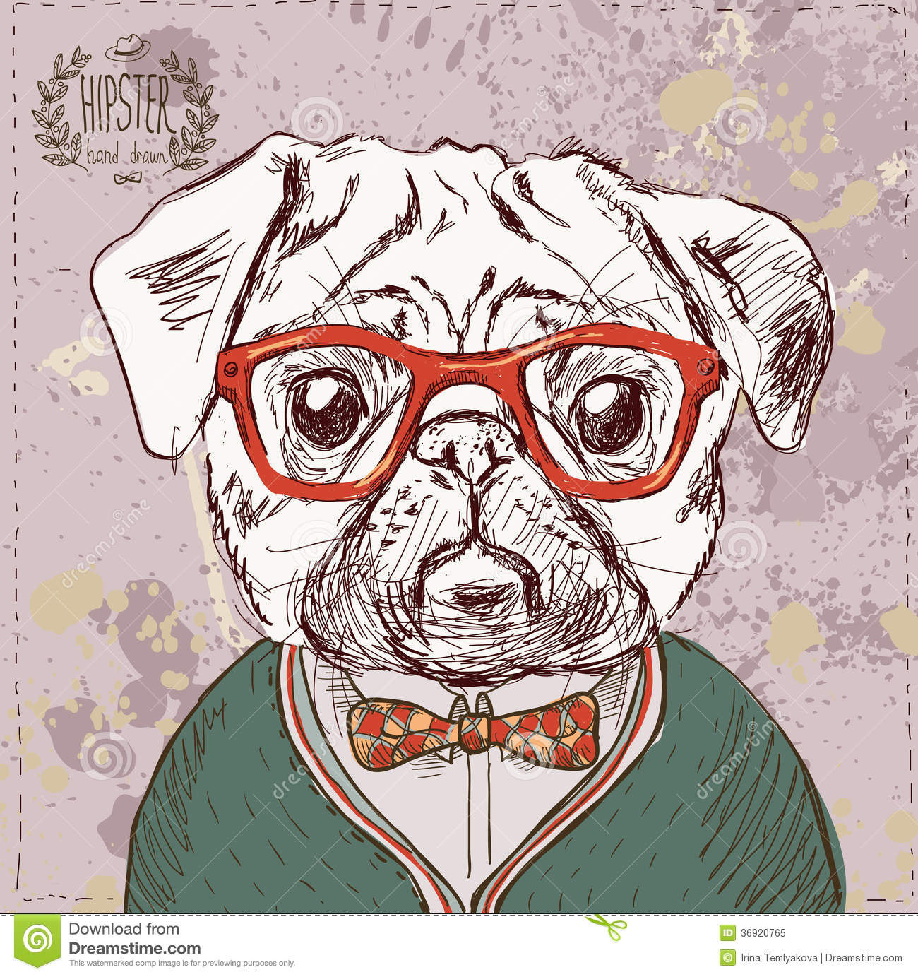 Classic Retro Illustration: Vintage Illustration Of Hipster Pug Dog Stock Vector